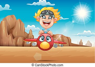 Cartoon boy flying a plane in the desert