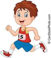 Cartoon boy follow the race - Vector illustration of Cartoon...