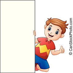 Cartoon boy giving thumbs up with holding blank sign
