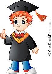 Cartoon boy graduation giving thumbs up