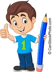 Cartoon boy holding a big pencil and showing thumb up