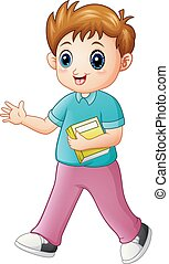 Cartoon boy holding a book with waving hand
