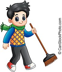 Cartoon boy holding a broom