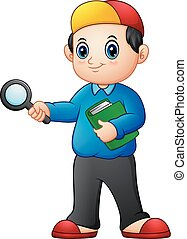 Cartoon boy holding a magnifying glass and books