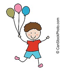 Cartoon boy icon with balloon