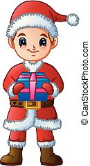 Cartoon boy in a Santa Claus costume holding gift