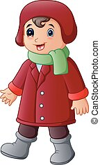 Cartoon boy in red winter clothes with green scarf