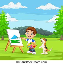 Cartoon boy painting with his pet in the park