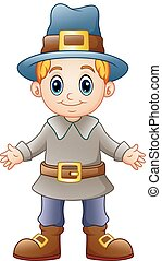 Cartoon boy pilgrim - Vector illustration of Cartoon boy...