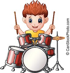 Cartoon boy playing a drums