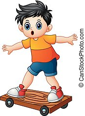 Cartoon boy playing skateboard