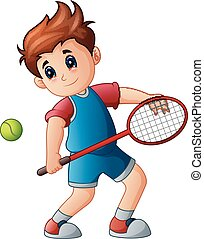 Cartoon boy playing tennis