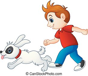 Cartoon boy playing with his pet