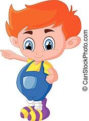 Cartoon boy presenting