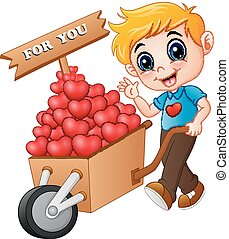 Cartoon boy pushing a pile of hearts in wood trolley for you