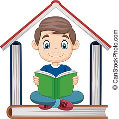 Cartoon boy reading a book with pile of books forming a house