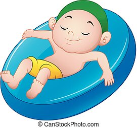 Cartoon boy relaxing above an inflatable ring