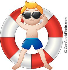 Cartoon boy relaxing on the lifebuoy