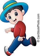 Cartoon boy running wearing a hat