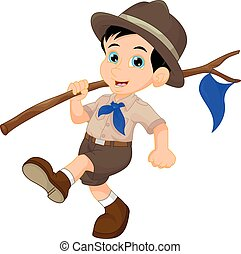 Cartoon boy scout holding blue flag - vector illustration of...