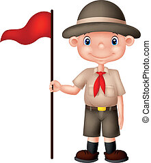 vector illustration of Cartoon boy scout holding red flag