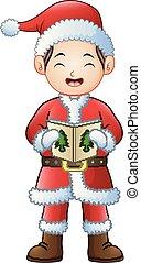 Cartoon boy singing Christmas carols isolated on white background