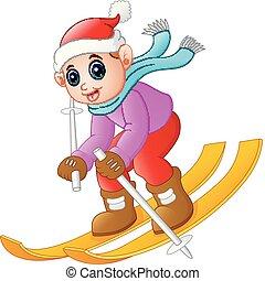 Cartoon boy skiing down