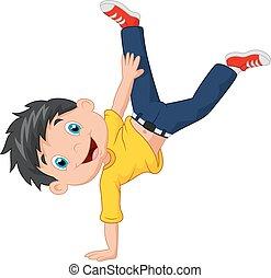 Cartoon boy standing on his hands