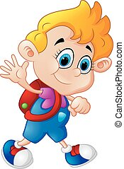 Cartoon boy waving