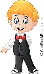 Cartoon Boy Wearing a Tuxedo