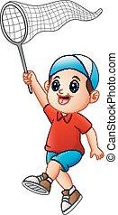 Cartoon boy with a net