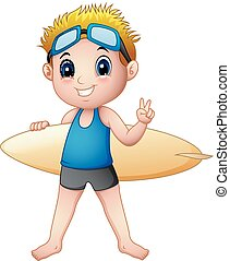 Cartoon boy with a surfboard