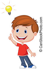 Cartoon boy with big idea - Vector illustration of Cartoon...