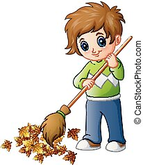 Cartoon boy with broom and autumn leaves