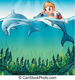 Cartoon boy with dolphins in the sea