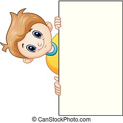 Cartoon boy with holding blank sign