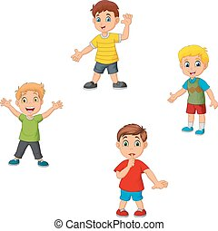 Cartoon boys collection set waving hand