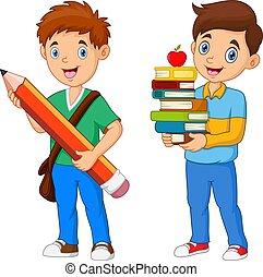 Cartoon Boys hold pencil with book