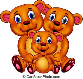 Cartoon brown bear family