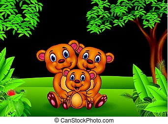 Cartoon brown bear family in the jungle