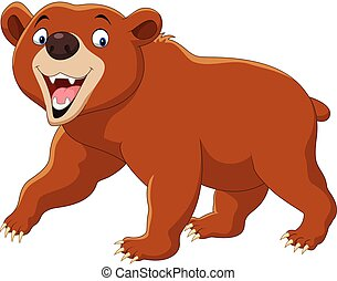 Cartoon brown bear isolated on white background