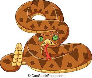 Cartoon brown snake on white background