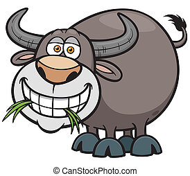 Buffalo - Vector illustration of Cartoon Buffalo