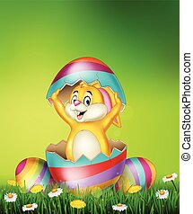 Cartoon bunny come out from Easter egg