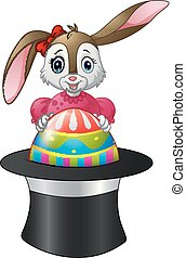 Cartoon bunny holding Easter eggs in a hat