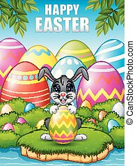 Cartoon bunny holding Easter eggs in the woods near the river