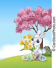 Cartoon bunny holding flower