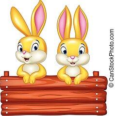 Cartoon bunny holding wooden sign