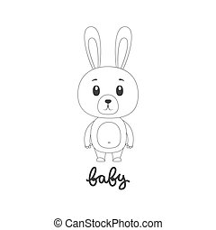 Vector illustration of cartoon bunny.