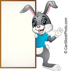 Cartoon bunny waving hand with blank sign